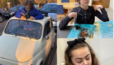 A picture of a kid stood up ot of the oover head window of a car reading a book, with thwo other children also reading in separate images on the right.