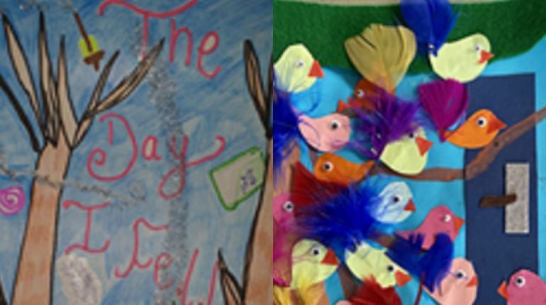 A picture of some art completed by children, featuring a tree and colourful birds.
