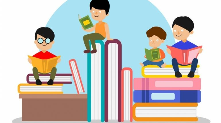 A cartoon of children reading books whilst sat on larger books.